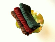 Dishcloths knit in cotton - Hemlock, Russet and Fig - Handmade Crafts by The Needle House   $10.00