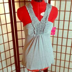 Candie's Ruffle Strap Halter Blouse Grey striped blouse with ruffled straps is 50% polyester 50% rayon. Machine washable. Candie's Tops