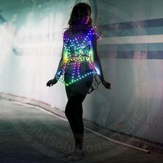 """Rave LED light up rainbow Cage dress outfit / """"Iris"""" fashion festival costume clothing with logo led belt - from ETERESHOP Festival Outfits, Festival Fashion, Light Up Clothes, Outfits Fiesta, Rave Costumes, Adult Costumes, Led Dress, Rave Outfits, Sexy Outfits"""