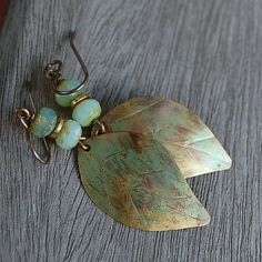 Pistachio Leaf and Glass Earrings by Pobbletoes on Etsy, $26.00