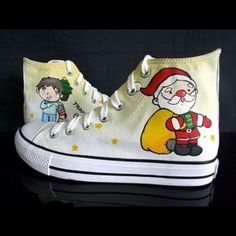 """Christmas Gifts"" High-Top Canvas Sneakers from #YesStyle"