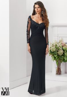 71123 Evening Gowns / Dresses Stretch Mesh with Embroidered and Beaded Appliques Black