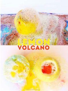 Lo que necesitas: limones, bicarbonato de sodio, acuarelas líquidas (opcionales, pero bonitas).Los volcanes de limón son una bonita (¡y más aromática!) alternativa a los volcanes de bicarbonato de sodio a base de vinagre. Añádele acuarelas al limón antes de agregar el bicarbonato para hacer de esta una erupción realmente espectacular.