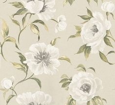 Peony Garden  (1602/629) - Prestigious Wallpapers - A grand, elegant wallpaper featuring large scale, stylized peony flowers. Shown here in willow. Other colourways are available. Please request a sample for a true colour match. Wide width product. Paste-the-wall product.