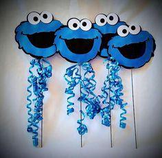 Cookie Monster centro de mesa fiesta Pick por FestiveByMail en Etsy