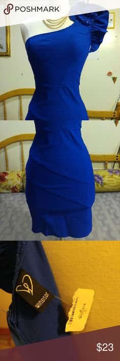 Nwt Windsor beautiful blue cocktail dress Nwt beautiful blue cocktail dress. Size medium. Message me for more details discounts or bundles. Don't let this dress slipt past you. Its too cute not to buy. I love offers ?? WINDSOR Dresses One Shoulder