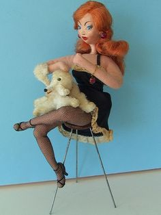 Sold: Vintage CLOTH ART DOLL Klumpe LARREA Biarritz France BURLESQUE GIRL w POODLE