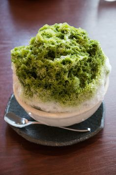 Green tea Kakigori (Japanese style shaved ice). Yummmmm