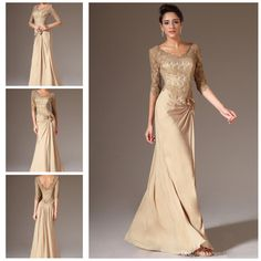 Free shipping, $88.34/Piece:buy wholesale Modest Sheer Lace Half Sleeves Champagne Gold Evening Formal Gown 2014 Chiffon Floor Length V Neck Party Prom Dresses ED9325 from DHgate.com,get worldwide delivery and buyer protection service.