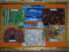 We're Going on a Bear Hunt classroom display photo - Photo gallery - SparkleBox. We are doing this on poster board, but with finding photos in magazines and cutting them out instead. Nursery Activities, Sensory Activities, Classroom Activities, Book Activities, Sensory Bags, Preschool Classroom, Activity Ideas, Preschool Ideas, Kindergarten