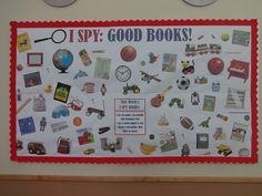 i spy bulletin board ideas Literacy Bulletin Boards, Reading Bulletin Boards, Winter Bulletin Boards, Bulletin Board Display, Preschool Bulletin, Detective, School Library Displays, Classroom Displays, Library Lessons