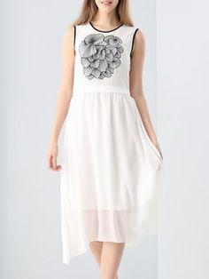 Casual Sleeveless Embroidered Asymmetrical Midi Dress