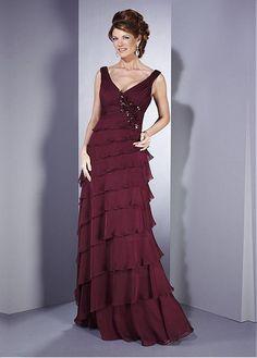 Amazing Chiffon A-line V-neck Neckline Empire Waist Full Length Layered Mother Dress