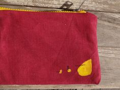Red Yellow Hand Painted  Clutch Bag Red Canvas Pencil by koatye1, $25.00