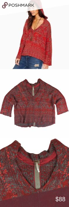 """FREE PEOPLE Red Stitched Fair Isle Hooded Sweater Absolutely excellent condition! This red and gray stitched fair isles oversized hooded sweater from Free People features a very oversized and roomy fit. Good in back, drop sleeves. Stitched accent detailing. Made of a wool blend. Measures: bust: 58"""", total length: 24"""", sleeves: 17"""" Free People Sweaters"""