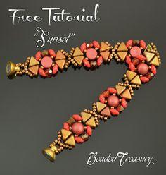 "Beaded Treasury: Free Beading Tutorial - ""SUNSET"" bracelet"