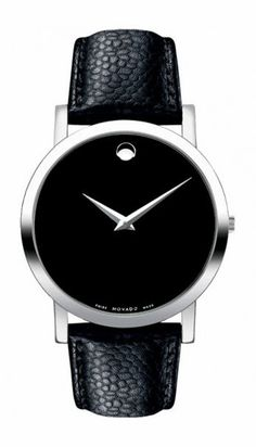 The black Museum dial of this men's watch from Movado showcases a silver-tone concave dot and hands topped by a sapphire crystal set in a stainless steel case. The classic black calfskin leather strap secures with a buckle. The men's watch features a Durable Watches, Black Museum, Swiss Army Watches, Stainless Steel Watch, Watch Brands, Luxury Watches, Dream Watches, Quartz Watch, Black Silver