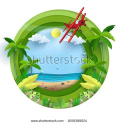 Vector illustration on a summer holiday. beautiful views of the beach. there is a airplane. paper art style