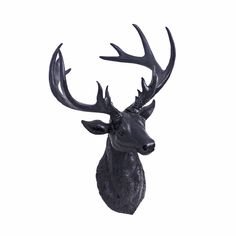 Black Coloured Finish Resin Stag's Head Wall Art for the Home