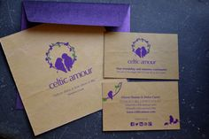 Event invitation design and business card design for Celtic Amour - Friendship and Romance Community.