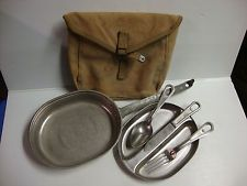 WW II U. S. ARMY MESS KIT w CANVAS PACK and UTENSILS M.A. CO. 1944