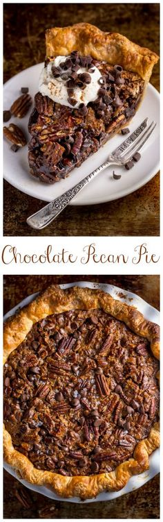 This insanely decadent Chocolate Pecan Pie is topped with a dollop of whipped cream... and extra chocolate, of course!