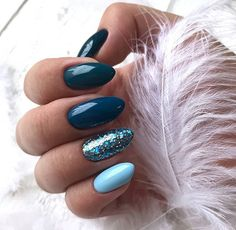 Beautiful Blue Nails Ideas For Your Appearance 23 - If you have rejected the notion of wearing blue nail polish in the past, it's time to reassess your position. Although blue nails were once associated. Winter Nails 2019, Winter Nail Art, Winter Art, Dark Winter, Autumn Nails, Winter Nail Colors, Nail Ideas For Winter, Winter Acrylic Nails, Teal Acrylic Nails