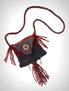 Knit necklaceyarn jewelry medicine bag by FruitofPhalanges on Etsy, $27.00