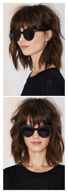 Love this textured bob with straight bangs