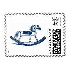 Blue Rocking Horse Stamps