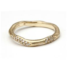 Very organic shape: Wavy band with diamond patches {14k gold 0.16 ctw} 1,575.00
