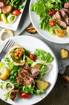 Delicious steak, potatoes, onions, and tomatoes grilled to perfection on the BBQ to make the perfect spring and summer salad.