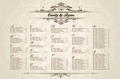 table numbers for wedding reception | Wedding Seating Chart for Your Reception - Personalized - Printable