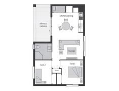 This design offers 2 Bed, 1 Bath and good sized open plan Kitchen Dining and Lounge with the added enjoyment of evenings on your Alfresco Cabana. Small House Plans, House Floor Plans, Mcdonald Jones Homes, Open Plan Kitchen Dining, Garage Apartment Plans, Granny Flat, Two Bedroom Apartments, Small House Design, Cabin Plans