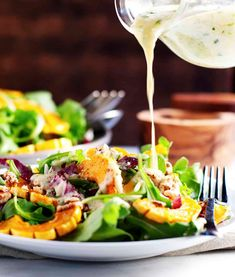 An easy recipe for roasted Delicata Squash Salad with arugula, raddichio, and a creamy tarragon dressing! Beautiful on the plate and totally irresistible! Excellent salad for a date night or dinner party. Vegetarian Salad Recipes, Healthy Salads, Healthy Recipes, Easy Thanksgiving Recipes, Squash Salad, Main Dish Salads, Mediterranean Diet Recipes, Arugula, Lunches And Dinners