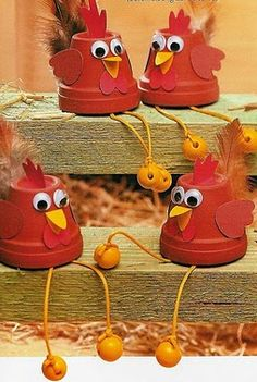 ...Clay pots turn into Little Red Hens...