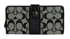 Coach 48784 Black & White Signature Stripe Accordion Zip Around Tab Wallet