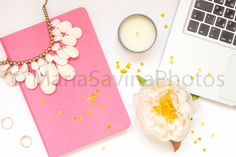 Styled Stock Photo | Flatlay Digital Styled Image | Product Photography | Styled Desktop Pink Notebook Gold Accessories