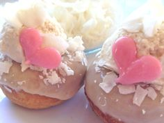 Vegan Coconut Cream Mini Cake Donuts Dairy Egg by SweetSpotMinis, $17.50  Cute as a coconut...coconut baked in the batter, dipped in vanilla glaze and a plop of coconut buttercream. Pure and unsweetened coconut flakes to add some flare and these little guys will have you going coco-nuts :)