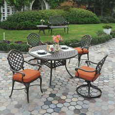 If style, comfort, quality and value are important to you, then Hanamint is your match for the perfect cast aluminum patio furniture set. Cast Aluminum Patio Furniture, Small Patio Furniture, Metal Furniture, Furniture Ideas, Patio Dining, Outdoor Dining, Outdoor Decor, Dining Set, Outdoor Ideas