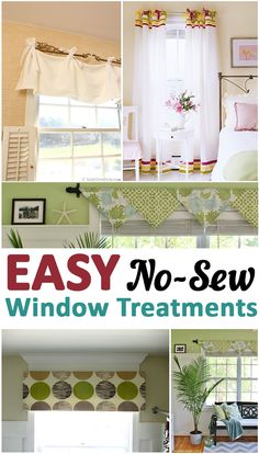 Great Ideas, tips, tutorials and projects for No-sew Window Treatments.