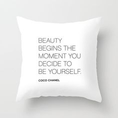 Coco Chanel BE YOURSELF quote pillow cover white by ThingsThatSing, $34.00