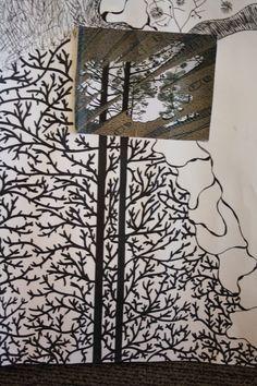 inzoom op grote Escher tekening