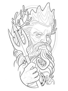 46 Ideas For Drawing Tattoo Chicano Tattoos And Body Art tattoo stencils Poseidon Drawing, Poseidon Tattoo, God Tattoos, Body Art Tattoos, Sleeve Tattoos, Stencils Tatuagem, Tattoo Stencils, Kunst Tattoos, Chicano Tattoos