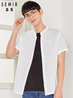 SEMIR camisa sin cuello Regular para hombres de los hombres camisa de manga  corta 100% e7b3612698f06