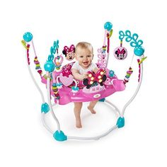 The Minnie Mouse Peek-a-Boo Activity Jumper is EAR-resistably fun for your little one. With more than 12 engaging toys and activities, your baby girl will jump and explore all afternoon. Four easy-adjusting height options grow with baby. The seat rotates in all directions so baby can easily reach all the toy stations while jumping. The electronic toy station entertains baby with Minnie-inspired lights and sounds, along with volume control.