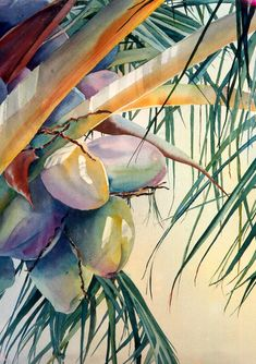 Watercolor Coconut Palm by Leslie Ruth from Hawaii