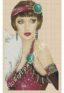 Cross stitch chart Art Deco Lady - No 84 - New Design | eBay