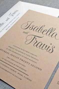 Beautiful kraft invitations.