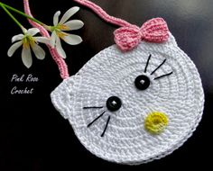 PINK ROSE CROCHET : Bolsinha de Crochê - Hello Kitty Crochet Purse